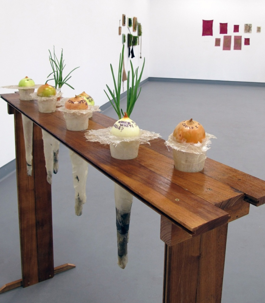Cromniomancy. 2011. Wood, fibreglass, onions, ink.