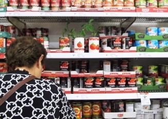 supermarket install – tomato plants in the tinned veg aisle